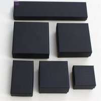 Wholesale Wholesale Black Jewelry Boxes - XS High Archives Black Kraft Jewelry Packing Bracelet & Necklace & Ring & Ear Nail Box Christmas New Year Gift Customize 6 size