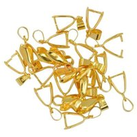 Wholesale Pinch Bail Plates - 100 pcs Gold plated Pendant Pinch bails 14mm M2646