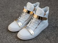 Wholesale Womens Top Decoration - High Top Quality Mens And Womens Zanottys Stone Grain Leather Metal Decoration White Plate Recreational Shoes Arena Double zipper Sneakers