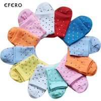 Wholesale Dots Point Socks - 5Pair Fashion Dot Point Art Socks Women Spring Summer Boat Socks Candy Colors Cool Breathable Casual Sock Calcetines Mujer Femme