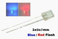 Wholesale Wholesale Leds Resistors - Wholesale- free shipping 50pcs rectangular led,Blue   Red Flash 2x5x7mm Blink LEDs Free Resistors,good quality