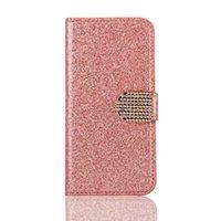 Wholesale Iphone Case Pearls Flip - For iphone 7 7plus 6s 6splus 6 6plus Flash powder Pearl Holster Flip top mobile phone cover