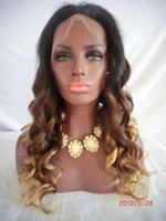 Wholesale Three Tone Wigs - T#1b #4 #27 Blonde Ombre Full Lace Human Hair Wigs Peruvian Hair Three Tone Color Ombre Lace Front Wigs For Black Women