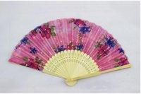 ingrosso arte pieghevole cinese-Eco-Friendly arti cinesi bambù piegante della seta del ventilatore a mano Fan Art fiore Handmade Lady Fan 21 centimetri A proposito di colore casuale