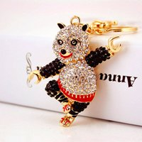 2017 New Arrival Fashion Keychains for Female Rhinestone Key Chains Cute Bear Bear Pendant Key Ring Wholesale