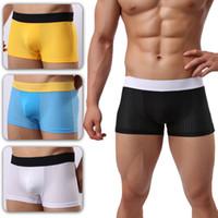 Wholesale Men White Mesh Underwear - Sexy Shorts Men Bulge Pouch Slip Homme Cotton Mesh Boxers Breathable U Convex Male Panties 4 pcs Trunk Underwear Men Seamless