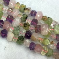 Wholesale Rose Cut Beads - Wholesale- Rose Quartz Purple Amethyst Green Prehnite Clear Rock Crystal Hand Cut Faceted Nugget Free Form Loose Mix Stone Beads 04262