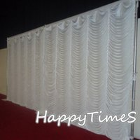 Wholesale Event Backdrop Curtains - 3*6m Event Background Decorations Wedding Curtain Backdrop Drapes In Ripple Design White Color Ice Silk Fabric