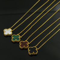 Wholesale Black Onyx Heart Necklace - Hot sell gold plated Black White Red Green Four Leaf lover agate Flower Pendant With Short Chain Necklace Choker for Women