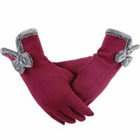 Wholesale Winter Mitts Wholesale - Fashion Women Gloves Autumn Winter Cute Bow Warm warmer Mitts Full Finger Mittens Women Cashmere Female Gloves Factory Wholesale
