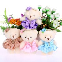 Wholesale Teddy Flowers Gift - For Christmas Gift NEW 12CM 10pcs lot pp cotton kid toys plush doll mini small teddy bear flower bouquets bear for wedding