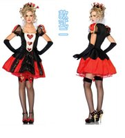 Wholesale Womens Witch Costumes - 2017 Adult Womens Halloween Costumes Poker Red Queen of Hearts Costume Dress Carnival Party Queen Costumes