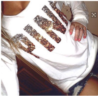 Wholesale Red Sequin Top Xl - PINK Letters Coat Sequins PINK Jackets Hoodies Love Pink Sweatshirt Fashion Printed Pullover Loose Sweatshirts Pullover Tops