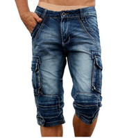 Wholesale Cargo For Mens - Summer Mens Retro Cargo Denim Shorts Vintage Acid Washed Faded Multi-Pockets Military Style Biker Short Jeans For Men