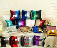 Wholesale Wholesale Glittered Linen - Sequins throw Pillow Case Best New Created Hot DIY Two Tone Glitter Sequins Throw Pillows Decorative Cushion Case Sofa Car Covers b571