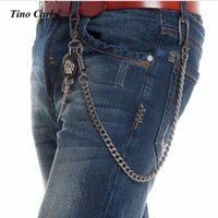 8mm 60CM Long / 140g Thick GunMetal Wallet Skull Sword Jeans Chaveiro Rock Biker Heavy Jeans Chain Hip Hop Pants Chain KB48