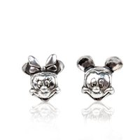 Wholesale Wholesale Stamped Charms - Stamped Dizny ALEPAN Mickey Minnie Alloy Charm Bead Antique 925 Silver Plated European Retro Style Jewelry For Pandora Bracelet