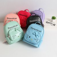 Wholesale Kids School Bags Leather - Wholesale Childrens Bags kitty Cartoon School Bags kids Backpack Girls boys Fashion Satchel Bag Leather Book Sale Shoulder Bags Lovekiss A88