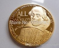 Wholesale England Souvenir - 5pcs The Great Britain poet playwright Shakespeare dramatist 24k gold plated England souvenir coin