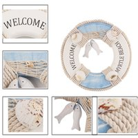 Wholesale Wall Adornment - Wooden Lifebuoy Home Decoration Pine Life Ring Buoy Shape Hanger Adornment Curtains Room Wall Decor Nautical Welcome Aboard 0703155