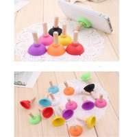 Wholesale Toilet Suckers - Cute Rubber Toilet plunger phone stand sucker universal silicone Mobile Phone Holder and Stands Plunger Sucker zpg252