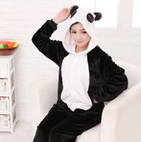 Wholesale panda pajama set - Wholesale- Pajamas Pyjamas Women Women's Lovery panda Full Sleeve Hooded Polyester Pajama Sets Cosplay Animal Pajamas For Adults