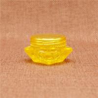gelbe plastikgläser großhandel-250 stücke 5g Gelb Diamant Plastikglas Kosmetische Creme Lippenbalsam Batom Flasche Nachfüllbare Lidschatten Make-Up Container