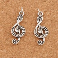 Wholesale spacer flat - 120pcs lot G Treble Clef Music Note Spacer Charm Beads Pendants Antique Silver Pendant T1629 28.4x11.2mm