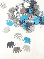 Wholesale Aqua Showers - Wholesale- Aqua and chevron elephant confetti | baby boy shower |Elephant Baby Shower | blue elephant Table decor scrapbook Confettis