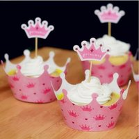 Wholesale Wholesale Xmas Picks - Cute Pink Crown Princess Paper Cupcake Wrappers Decorating Boxes Baking Cake Cups With Toppers Picks For Kids Xmas Birthday Party Supplies