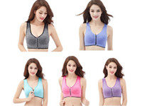 Wholesale women s racerback tank tops resale online - Seamless Zip Front Yoga Sports Bra Sexy Push Up Running Racerback Professional Shockproof Wireless Fitness Gym Cropped Tank Tops