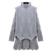Wholesale Ladies Gray Knit Dress - Wholesale-Fashion women crochet lace sweater dresses woman knitted jumpers clothing woman's lady tutu knttied dress clothes