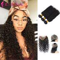 Wholesale Malaysian Curly Hair Free Shipping - Shipping Free 360 Lace Frontal With 3 Bundle Malaysian Curly Hair Deep Wave 360 Lace Virgin Hair With Bundles Human Hair Weaves