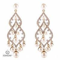 Wholesale Fshion Earring - Fshion Hollow Alloy plating Gold Pearl earrings Women Long Chandelier Crystal Wedding Jewelry Pendientes Brincos Bijoux