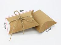 decoración para cajas de chocolate al por mayor-Caja de regalo de papel de chocolate dulce de cuerda de color caqui blanco al por mayor de la vendimia para el cumpleaños de la decoración del banquete de boda del arte del regalo DIY favor Wh