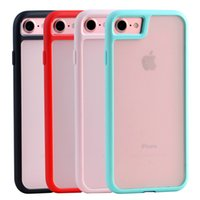 Wholesale Iphone Border Cases - Transparent Air Hybrid Armor Case For Iphone 7 7plus 2 in 1 Hybrid Soft TPU Border and Hard PC Back Shockproof Back Cover
