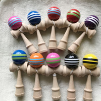 ingrosso gioco tradizionale in legno giapponese-vendita strisce linea Kendama palla grande formato 18.5 * 6 cm giapponese tradizionale legno Kendama palla gioco giocattolo educazione regalo Kendama palla giocattoli in legno