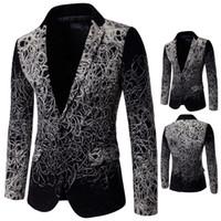 blazers de moda exclusivos venda por atacado-Mens Moda Ternos Únicos Mens Blazers 5XL Plus Size Mens Blazer Floral Do Vintage Casaco Casual Terno
