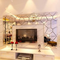 Wholesale Mirror Acrylic Decals - DIY 3D Acrylic Modern Mirror Decal Art Mural Wall Sticker Home Decor Removable free shipping MYY