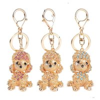 Wholesale Korean Crystal Keychain - Korean Style Poodle Dog Women Key Rings Engagement Key Chain Novelty Crystal Diamond Keychain Festival Wedding Gifts Key Rose Blue champagne