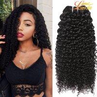 insan saçı örgü renk siyah toptan satış-Brezilyalı Kıvırcık Bakire Saç Atkı Doğal Siyah Renk Brezilyalı Kinky Kıvırcık Saç Örgüleri Brezilyalı Derin Kıvırcık Bakire Insan Saç Uzatma
