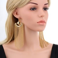 Gold Color Chain Tassel Drop Dangle Long Earrings para mulheres Big Large Brinco grande Statement Bohemian Party Jewelry