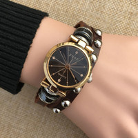 Wholesale Brown Glass Table - Retro Leather Bracelet Table Ladies Dress Fashion Watch Butterfly Cartoon Student Hand Quartz Watch Birthday Gift Miss Life