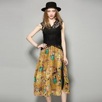 Mid-Calf cascade knitting - De Fee European Women s Clothing Summer New Two Pieces of Lace Shirt Printing Cascading Hem Dresses