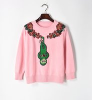 jersey inverno al por mayor-Envío Gratis Pink Green Monkey Bordado Cristales Jerseys Mujeres Marca Mismo Estilo blusas de inverno feminina DH0122-1