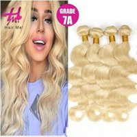 Wholesale 27 613 Hair Weft Extensions - 4 pcs Brazilian body wave nano hair weaves body wave 27 613 blonde human virgin Hair Extensions