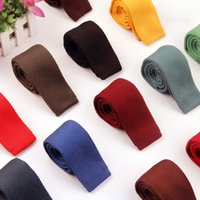 Wholesale Solid Knitted Neck Tie Woven - New Men Knitting Solid slim neck ties Classic polyester Neckties Fashion Plaid Mans Ties 2017 Autumn casual woven ties 1-10