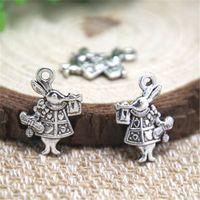Wholesale Alice Wonderland Charm - 20pcs- Rabbit Charms , Antique Tibetan silver Alice In Wonderland White Rabbit Charms pendants 13x20mm