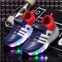 Wholesale Single Wheel Shoes - Kids Led Wheel Roller Skate Shoes Light Up Sneakers With Single Wheel Fashion Led Boys Gilrs Lighted Glowing Flashing Luminous Shoes