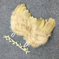 Wholesale Baby Wings Photo - Wholesale- 1 Set Newborn Baby Feather Lace Pearl Flower Leaves Hairband Headband & Angel Wings Photo Props Hair Band Accessories